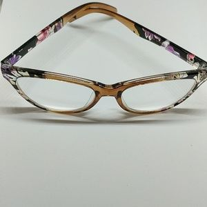 Other - Betsey Johnson readers +2.00  Black Floral Cateye